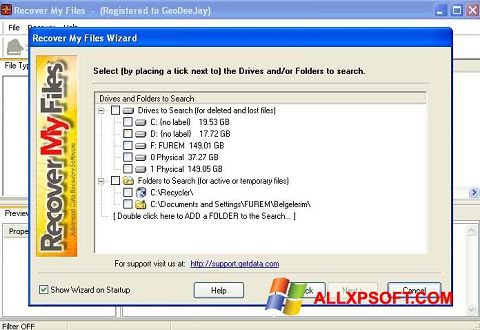 Screenshot Recover My Files para Windows XP