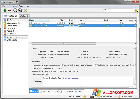 Screenshot qBittorrent para Windows XP