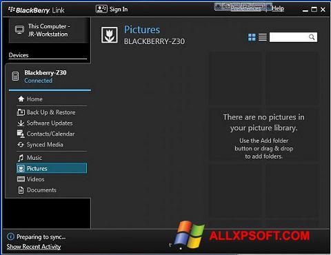 Screenshot BlackBerry Link para Windows XP