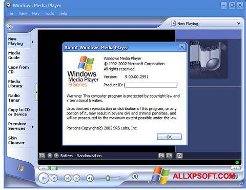 Screenshot Windows Media Player para Windows XP