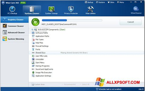 Screenshot Wise Care 365 para Windows XP