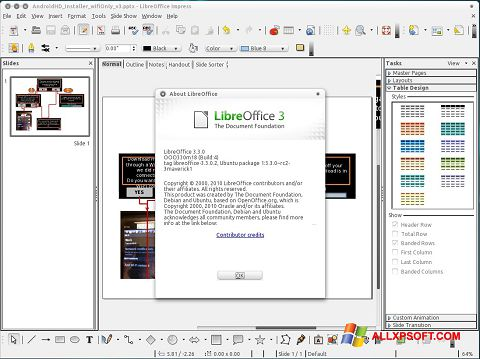 Screenshot LibreOffice para Windows XP