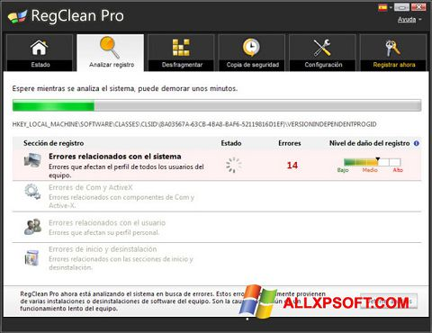 Screenshot RegClean Pro para Windows XP