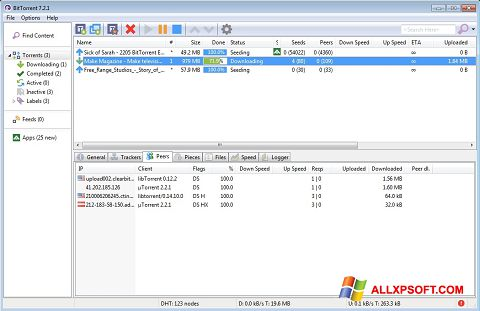 Screenshot BitTorrent para Windows XP
