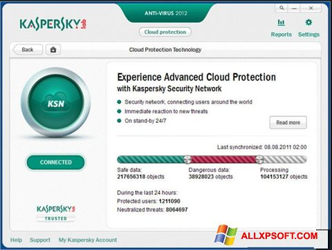 Screenshot Kaspersky para Windows XP
