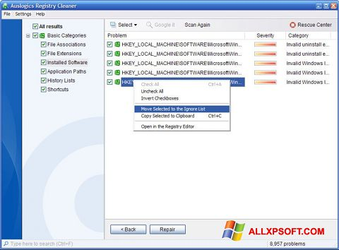 Screenshot Auslogics Registry Cleaner para Windows XP