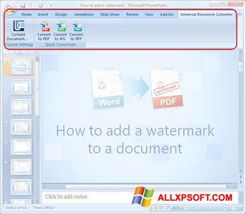 Screenshot Microsoft PowerPoint para Windows XP