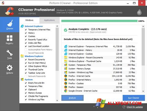 Screenshot CCleaner para Windows XP