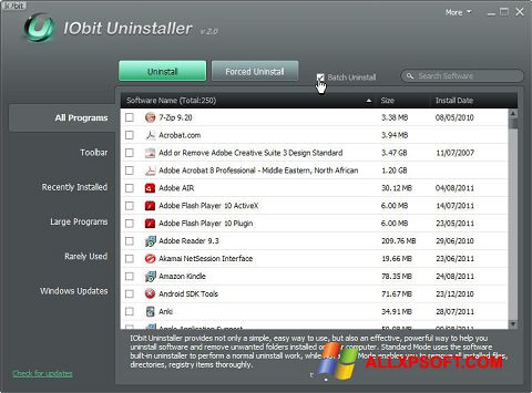 Screenshot IObit Uninstaller para Windows XP
