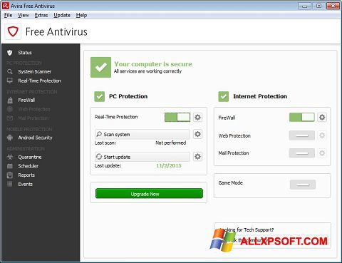 Screenshot Avira Free Antivirus para Windows XP