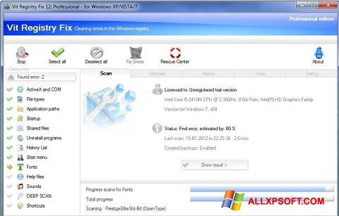 Screenshot Vit Registry Fix para Windows XP