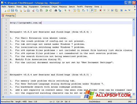 Screenshot Notepad++ para Windows XP