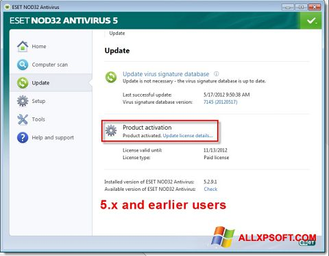 Screenshot ESET NOD32 para Windows XP