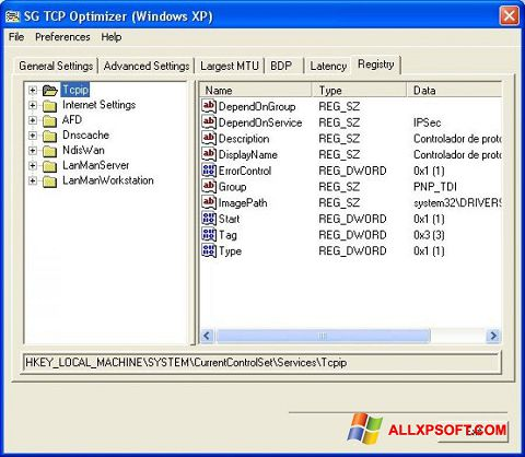Screenshot TCP Optimizer para Windows XP