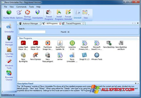 Screenshot Revo Uninstaller Pro para Windows XP